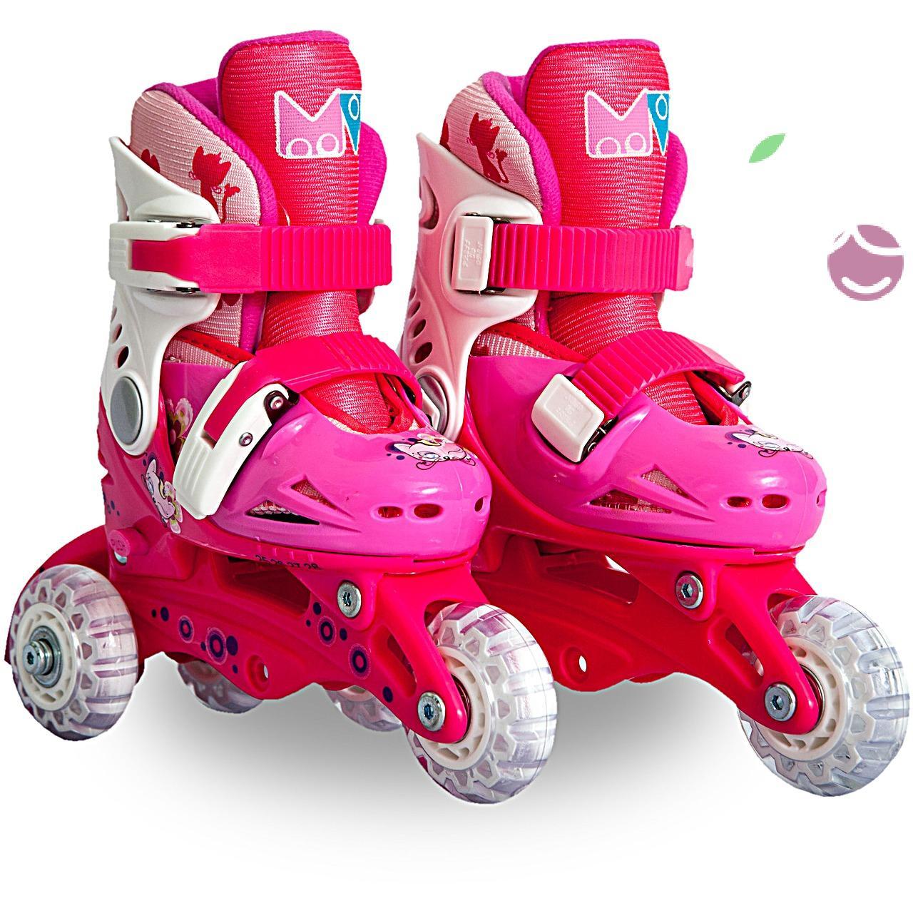 Роликовые коньки детские 27 размер, для обучения (трансформеры, раздвижной ботинок) MagicWheels розовые, - фото 1