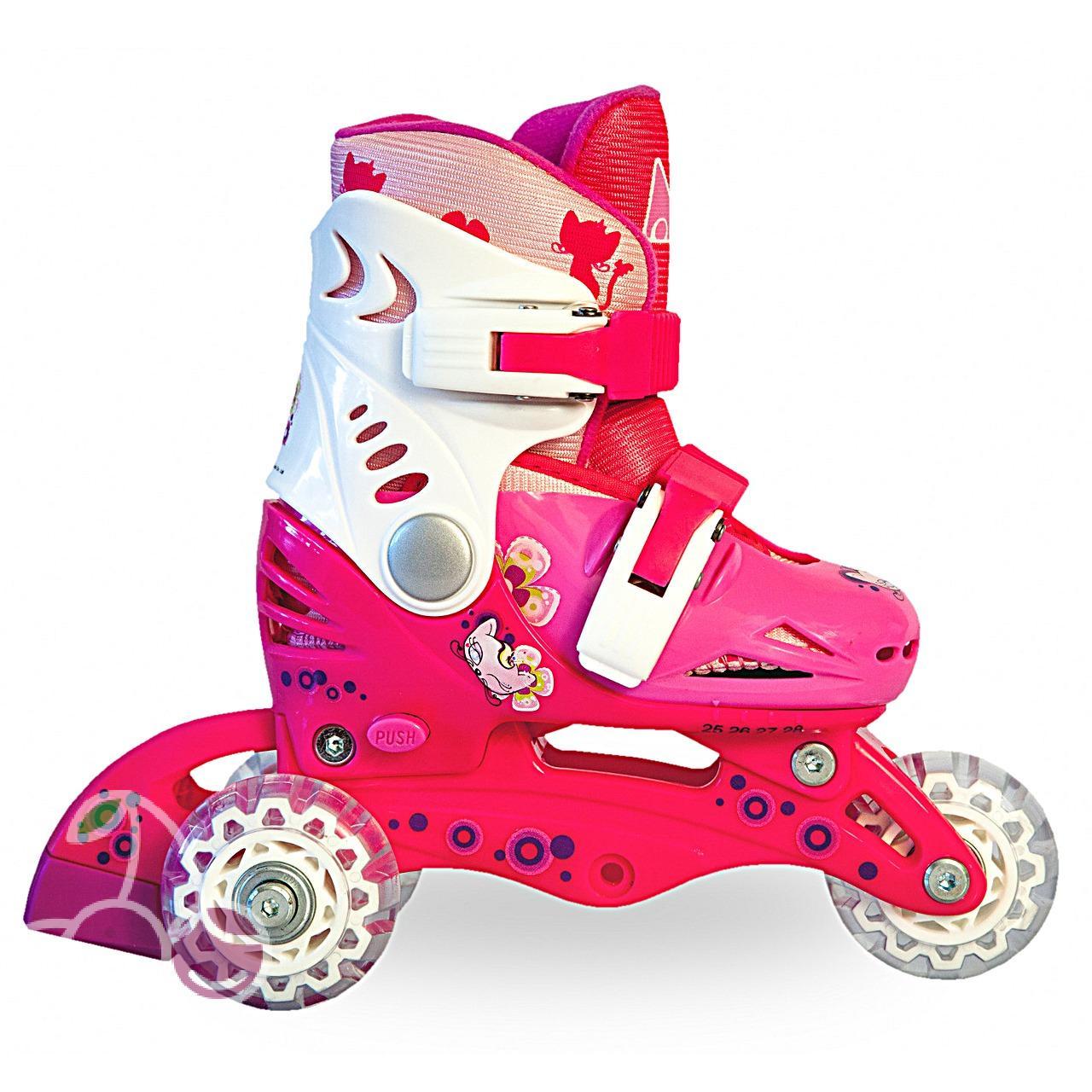 Роликовые коньки детские 27 размер, для обучения (трансформеры, раздвижной ботинок) MagicWheels розовые, - фото 2
