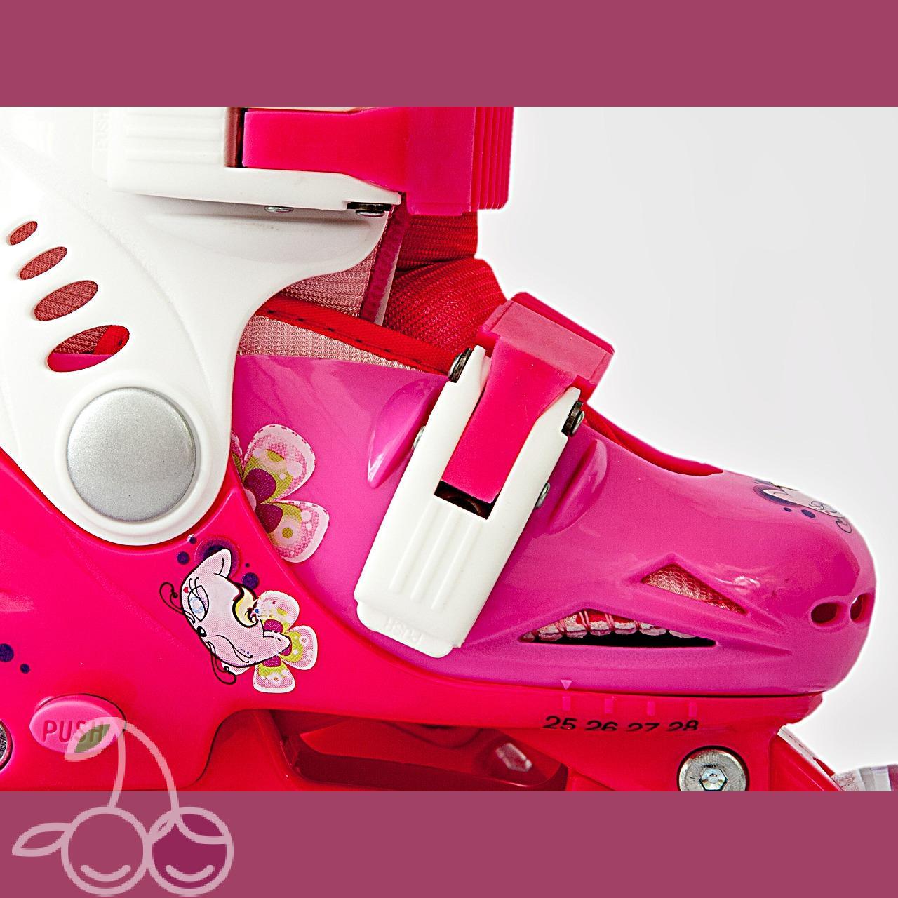 Роликовые коньки детские 27 размер, для обучения (трансформеры, раздвижной ботинок) MagicWheels розовые, - фото 3