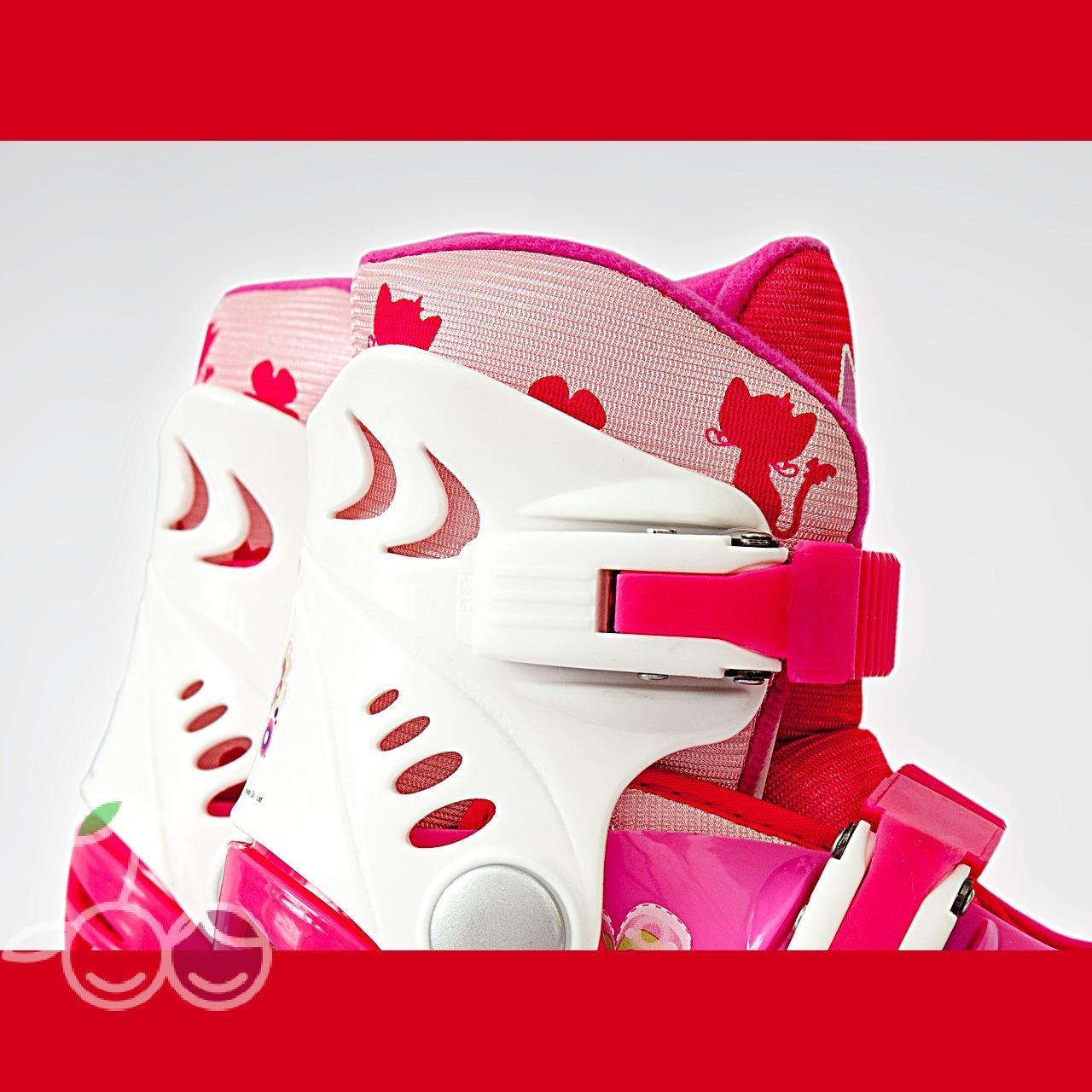 Роликовые коньки детские 27 размер, для обучения (трансформеры, раздвижной ботинок) MagicWheels розовые, - фото 5