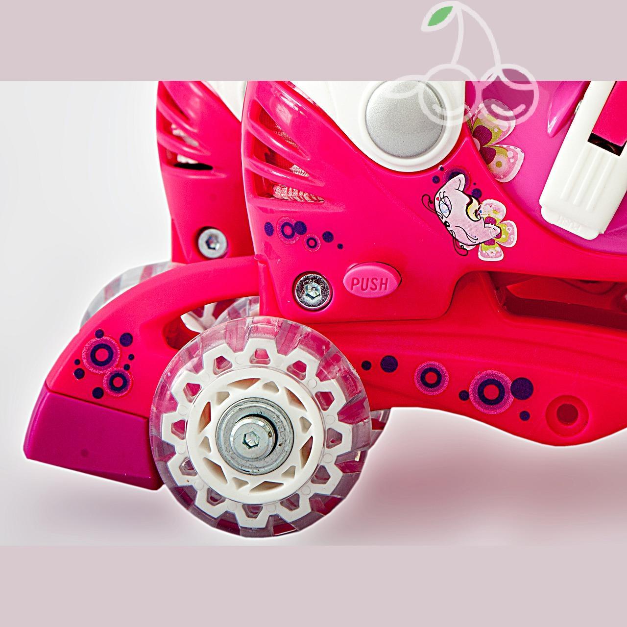 Роликовые коньки детские 27 размер, для обучения (трансформеры, раздвижной ботинок) MagicWheels розовые, - фото 4