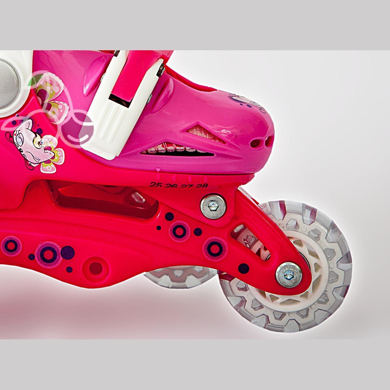 Роликовые коньки детские 27 размер, для обучения (трансформеры, раздвижной ботинок) MagicWheels розовые, - фото 6
