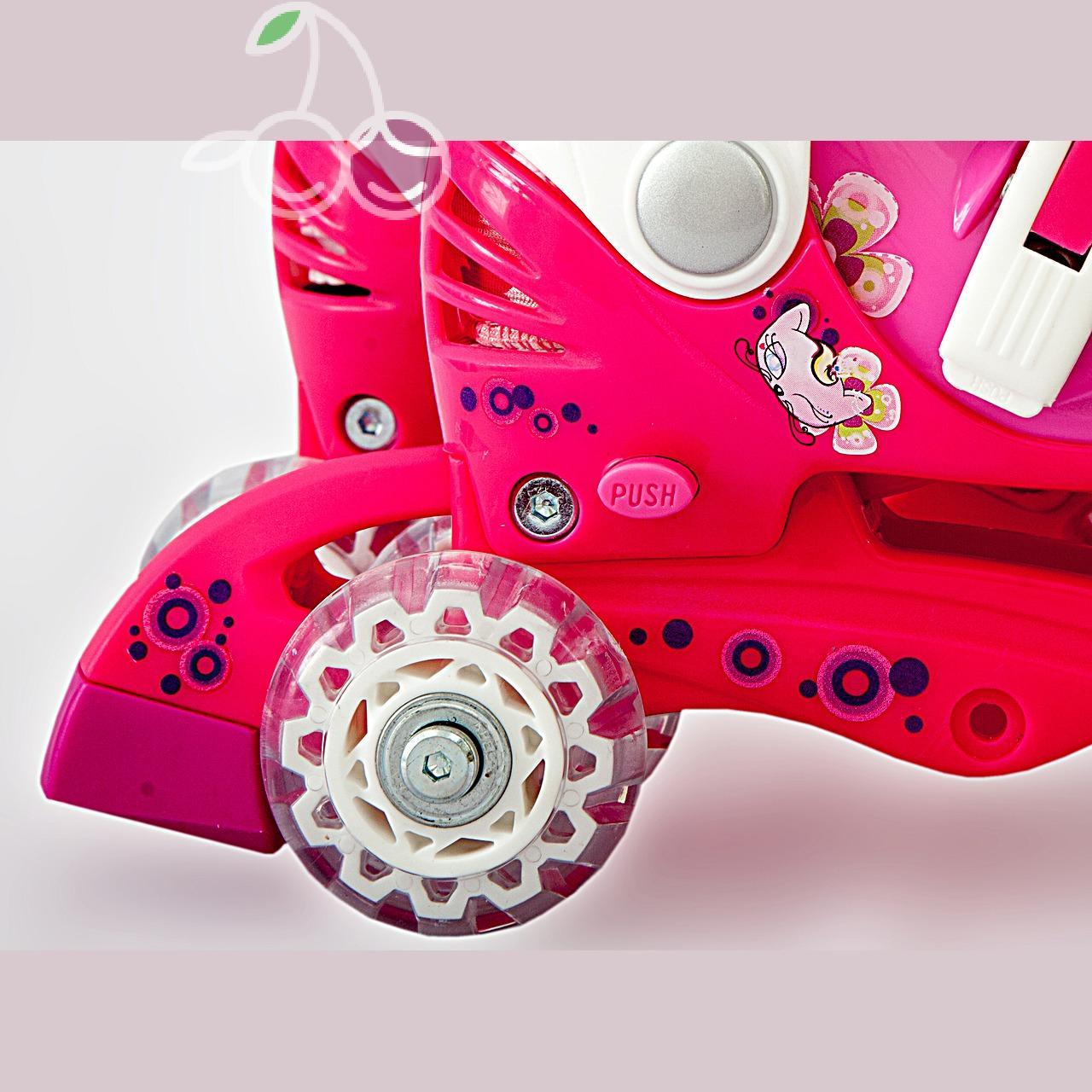 Роликовые коньки детские 28 размер, для обучения (трансформеры, раздвижной ботинок) MagicWheels розовые, - фото 4
