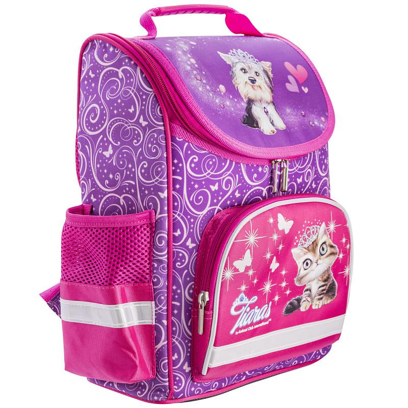 Ранец школьный ANIMAL CLUB розовый с кошкой, - фото 2