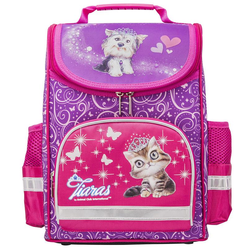 Ранец школьный ANIMAL CLUB розовый с кошкой, - фото 1