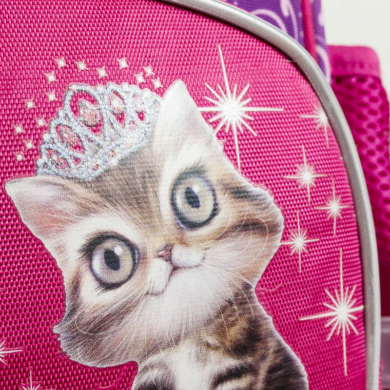 Ранец школьный ANIMAL CLUB розовый с кошкой, - фото 6