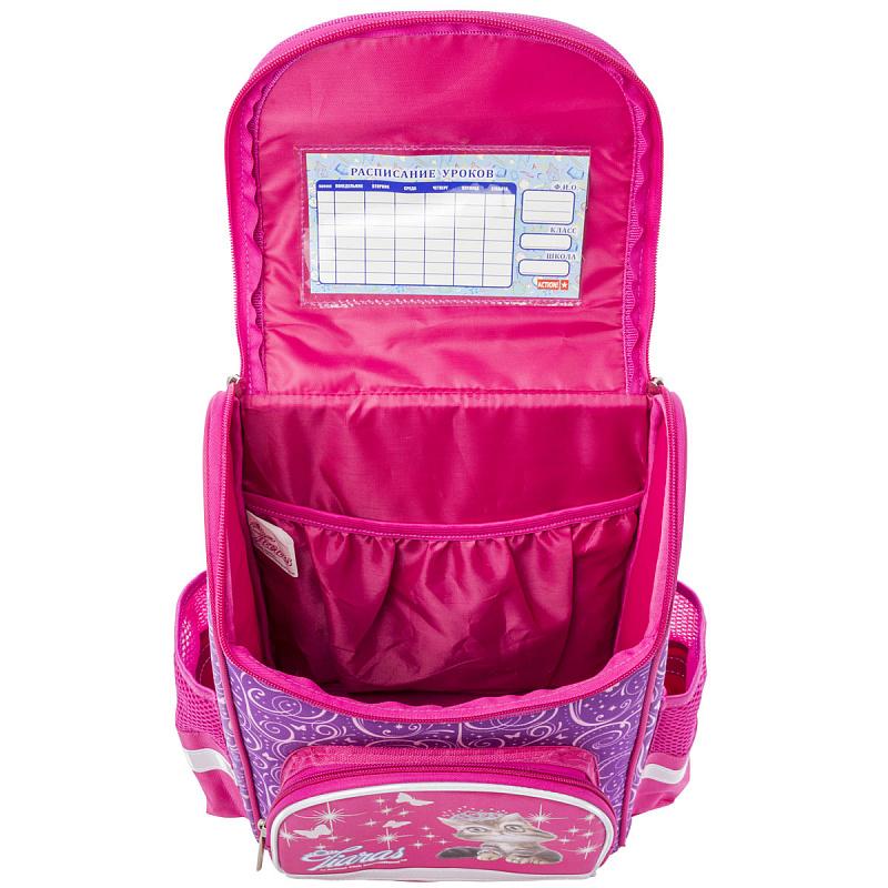 Ранец школьный ANIMAL CLUB розовый с кошкой, - фото 3