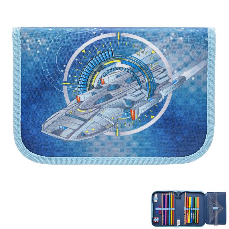 Пенал с наполнением для мальчика Космическое путешествие синий Tiger Family 23 предмета, - фото 4