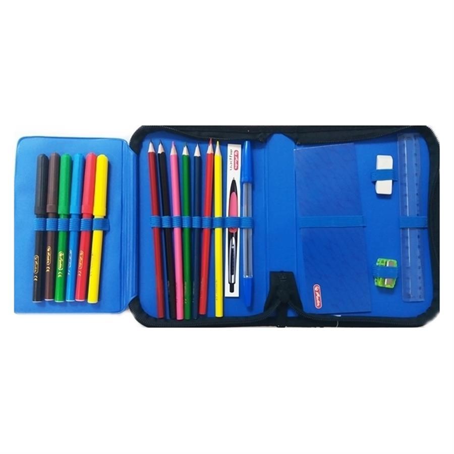 Пенал Херлиц WILD PRINT с наполнением 19 предметов цвет Синий, - фото 4