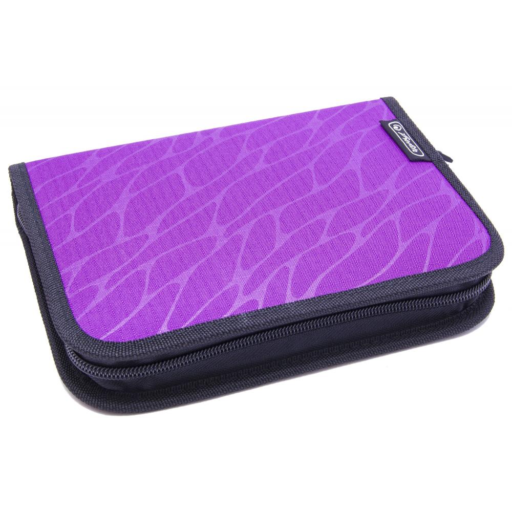 Пенал Херлиц WILD PRINT с наполнением 19 предметов цвет Фиолетовый, - фото 1