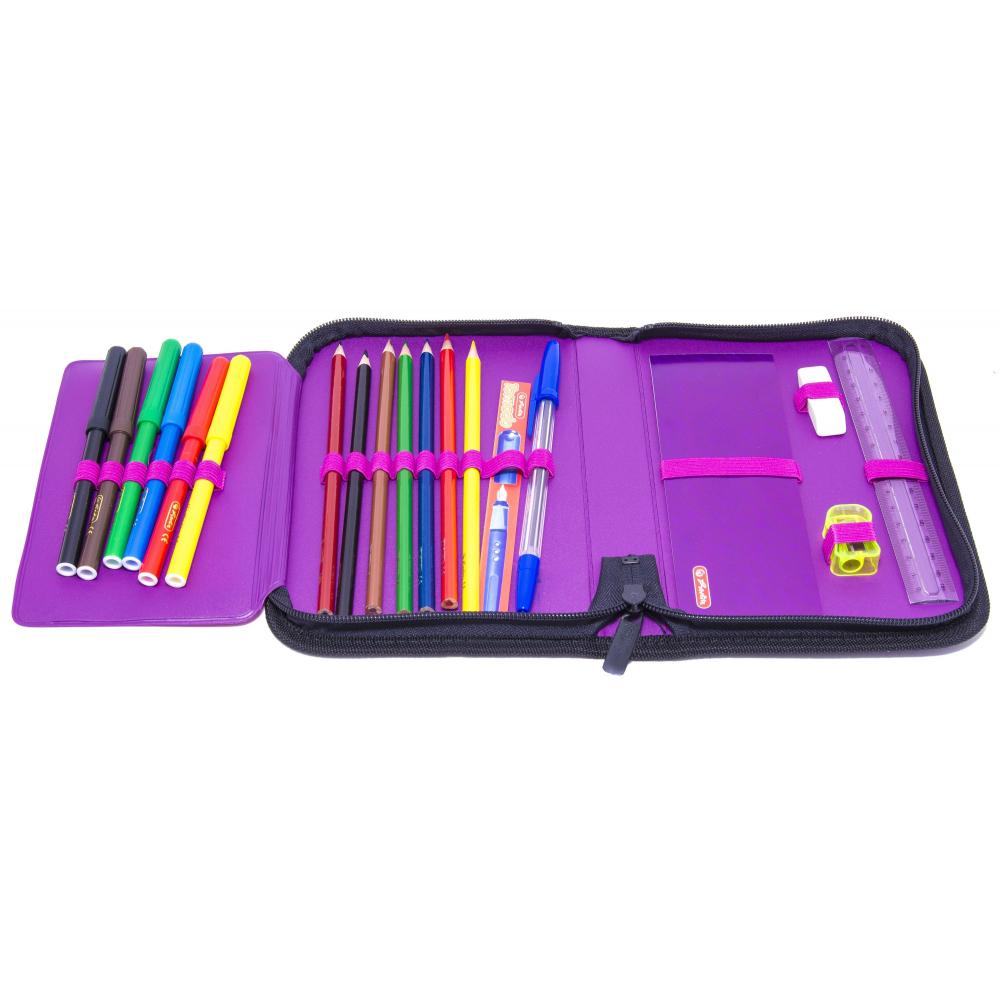 Пенал Херлиц WILD PRINT с наполнением 19 предметов цвет Фиолетовый, - фото 4
