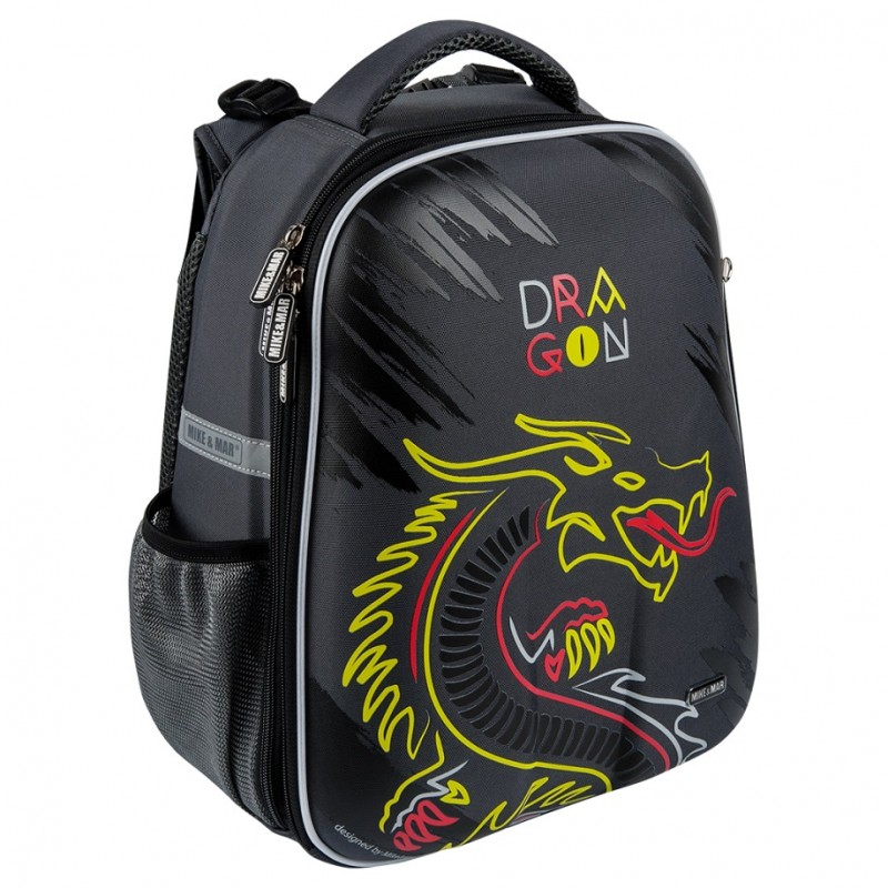 Рюкзак школьный Mike&Mar Майк Мар Дракон т.серый 1008-154 + пенал, - фото 2